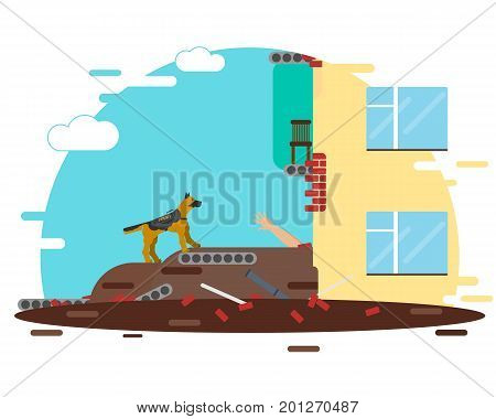 The building collapsed because of the gas explosion. A special dog helps to find people in blockages. Vector illustration