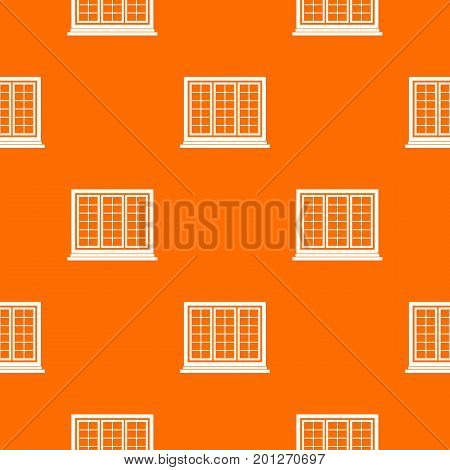Wooden tricuspid window pattern repeat seamless in orange color for any design. Vector geometric illustration