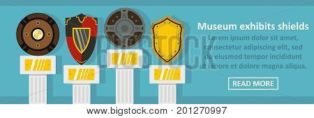 Museum exhibits shields banner horizontal concept. Flat illustration of museum exhibits shields banner horizontal vector concept for web