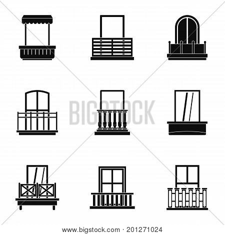 Modern balcony icon set. Simple set of 9 modern balcony vector icons for web isolated on white background