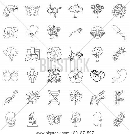 Zoology icons set. Outline style of 36 zoology vector icons for web isolated on white background