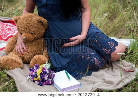 Pregnant woman in dress holding teddy bear to her tummy. Closeup of pregnant woman with teddy bear sitting on blanket on green grass outdoors