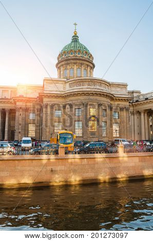 ST PETERSBURG RUSSIA - AUGUST 15 2017. Kazan cathedral and Griboedov channel in St Petersburg Russia. Architecture landscape of St Petersburg Russia in sunny summer evening