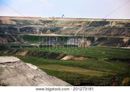 Destroyed landscape in Garzweiler opencast mining lignite surface mine in North Rhine-Westphalia Germany controversial energy production against environmental protection