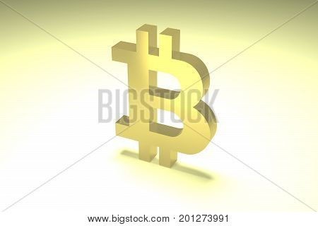 Gold volumetric symbol of digital crypto currency bitcoin illuminated with bright light 3d rendering