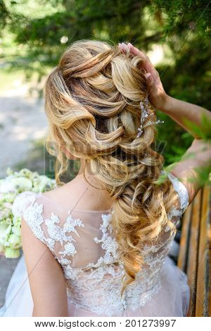 Beautiful Bride Fashion Wedding Hairstyle With Jewelry, Back View. Blond Girl With Curly Hair Stylin