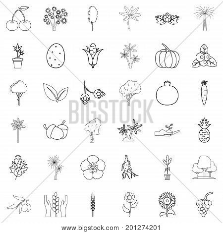 Foliage icons set. Outline style of 36 foliage vector icons for web isolated on white background