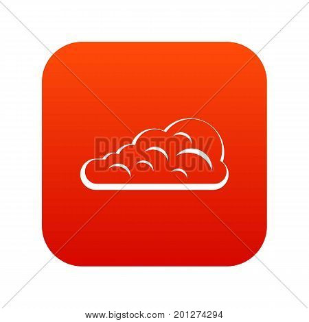 Cumulus cloud icon digital red for any design isolated on white vector illustration