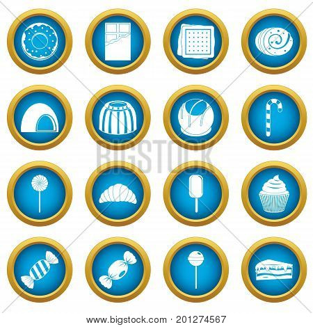 Sweets and candies icons blue circle set isolated on white for digital marketing