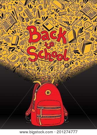 Stationery collection. Outline style. Back to school thin line vector doodle illustration template isolated on dark background. Sketchy vector backpack with stationery for graphic design, web banner and printed materials. Back to school. Writing materials