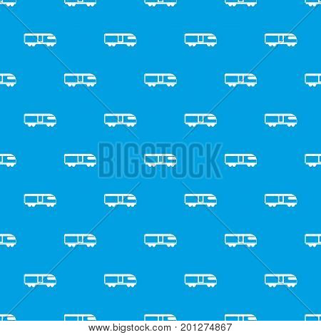 Swiss mountain train pattern repeat seamless in blue color for any design. Vector geometric illustration