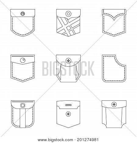Pants pocket icon set. Outline set of 9 pants pocket vector icons for web isolated on white background