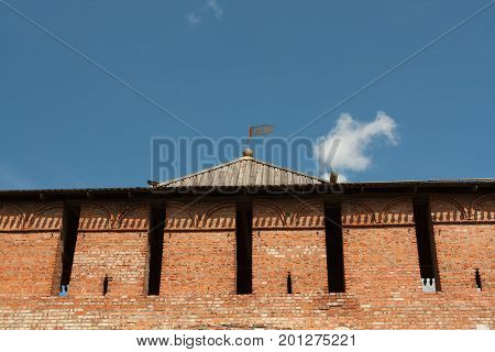 View Of Marinkin Tower Of Kremlin In Kolomna Moscow Region Close Up.