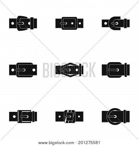 Modern belt buckle icon set. Simple set of 9 modern belt buckle vector icons for web isolated on white background