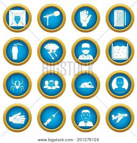 Phobia symbols icons blue circle set isolated on white for digital marketing