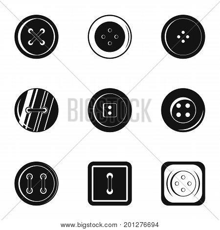 Fashion clothes button icon set. Simple set of 9 fashion clothes button vector icons for web isolated on white background