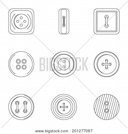 Metal clothes button icon set. Outline set of 9 metal clothes button vector icons for web isolated on white background