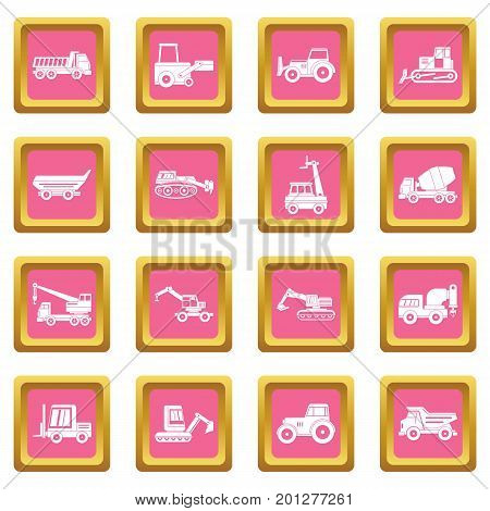 Building vehicles icons set in pink color isolated vector illustration for web and any design