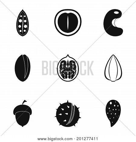 Nuts nutrition icon set. Simple set of 9 nuts nutrition vector icons for web isolated on white background
