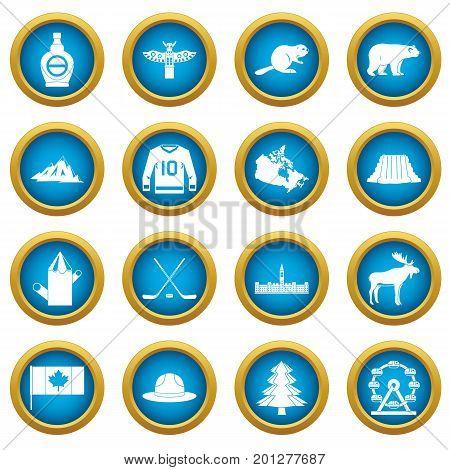 Canada travel icons blue circle set isolated on white for digital marketing