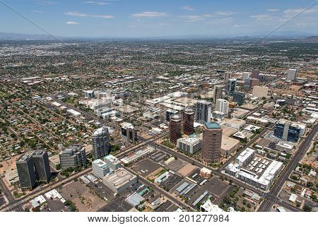 Aerial view of midtown Phoenix Arizona looking northwest from above Central Avenue and Thomas Road