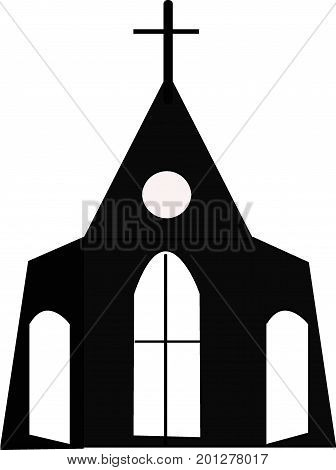 Vector of black church on a white background. Christianity concept.
