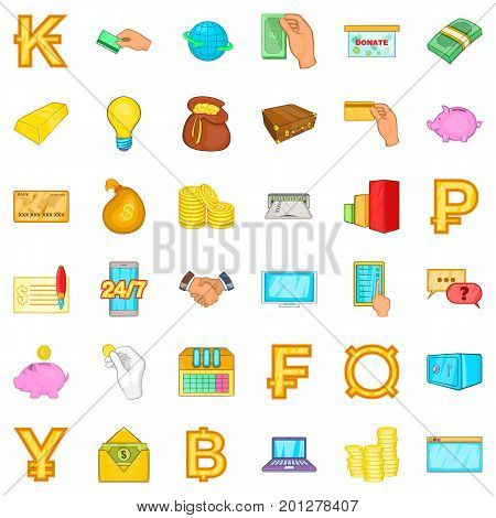 Money bag icons set. Cartoon style of 36 money bag vector icons for web isolated on white background