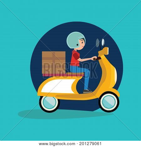 Concept delivery Delivery Boy Riding Motor Bike Icon scooter motorcycle in flat vector illustration