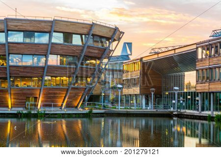 NOTTINGHAM, UK - June 4: The modern purpose -built buildings of the Jubilee Campus, Nottingham University, June 4, 2017. The University is one of the most popular among British applicants in 2017