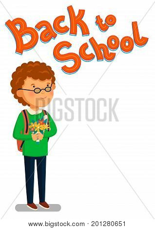 Schoolboy and Back to school text vector template. Happy reddish schoolboy with backpack holding bouquet of flowers for his teacher. Elementary school student. Flat cartoon illustration. Vector illustration