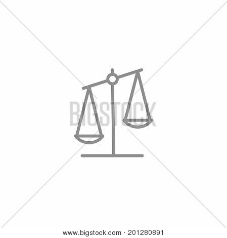 Scale line icon. Business and justice vector symbol isolated on white background. Libra sign.
