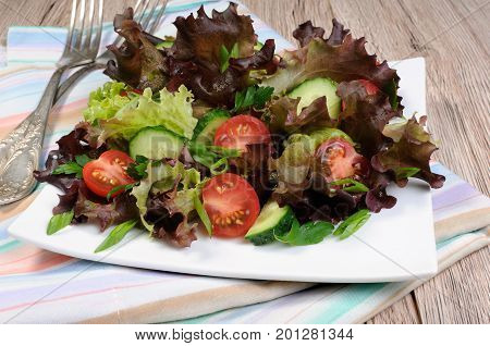 Light salad from lettuce leaves with tomatoes and cucumber