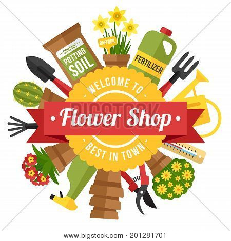 Colorful vector poster template for a flower and gardening shop. Flat style.