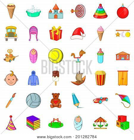 Abc icons set. Cartoon style of 36 abc vector icons for web isolated on white background
