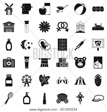 Pregnancy icons set. Simple style of 36 pregnancy vector icons for web isolated on white background