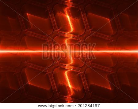 Fiery glowing technology with glowing beams computer generated abstract background 3D rendering