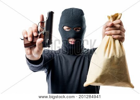 Criminal With A Bag Of Money Was Arrested, A Robber Understands His Hands Up