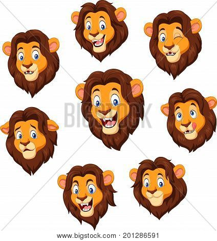 Vector illustration of Cartoon lion head with various expression