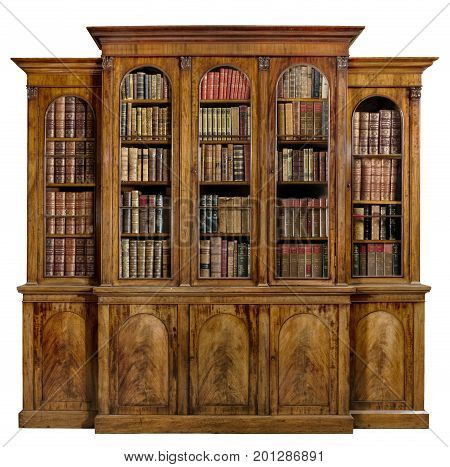 old antique bookcase English mahogany with isolated on white with clip path