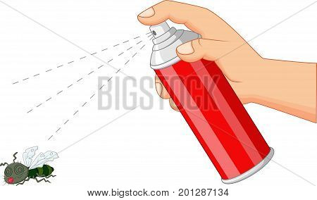 Vector illustration of spray killing insect on white background