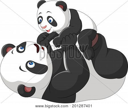 Vector illustration of Cute mother and baby panda