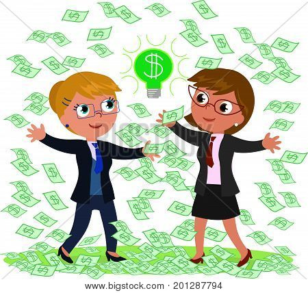 Two businesswomen with a lot of money and a good idea, vector illustration