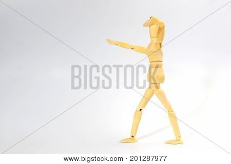 Wooden figure doll with looking emotion for success business concept on white background.