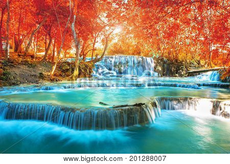 Waterfall in autumn forest names