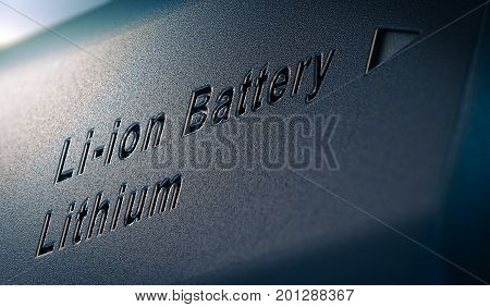 3D illustration of lithium battery pack close up on the text