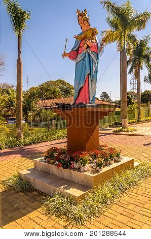 Statue Of Our Lady Holding Baby Jesus On The Lap