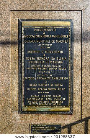 Monument Plate Of Nossa Senhora Da Gloria