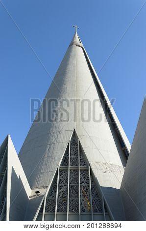 Conical And Triangular Details Of Catedral Basilica Menor Nossa Senhora Da Gloria