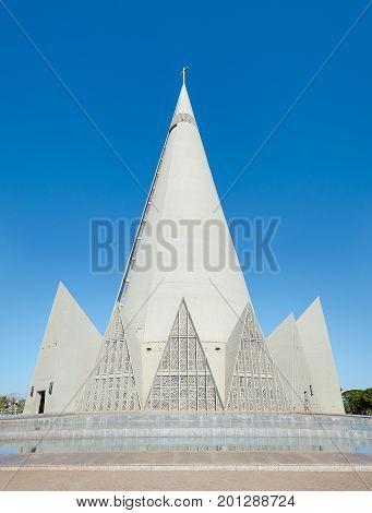 Side View Of Catedral Basilica Menor Nossa Senhora Da Gloria In Maringa City