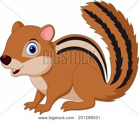 Vector illustration of Cartoon chipmunk isolated on white background